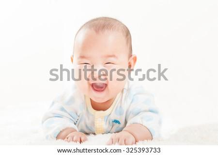 Japanese cute baby - stock photo
