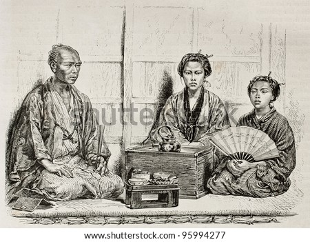 Japanese family in traditional clothing. Created by Neuville after photo of unknown author, published on Le Tour Du Monde, Ed. Hachette, Paris, 1867 - stock photo
