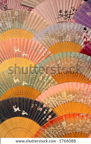 Japanese fans - stock photo