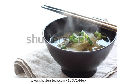 Japanese food, chinese cabbage and algae Miso soup - stock photo