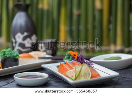 Japanese food fresh salmon. - stock photo