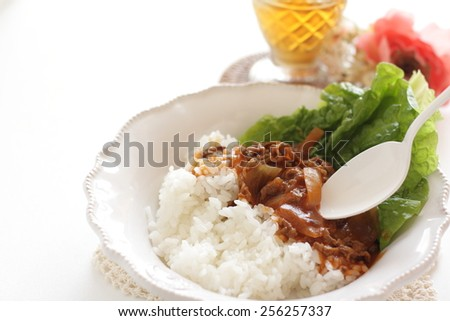Japanese food, Hayashi Rice Beef stew and iced tea - stock photo