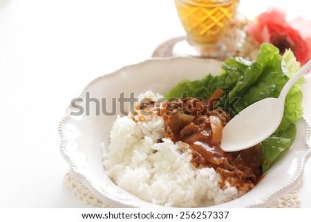 Japanese food, Hayashi Rice Beef stew and iced tea - stock photo