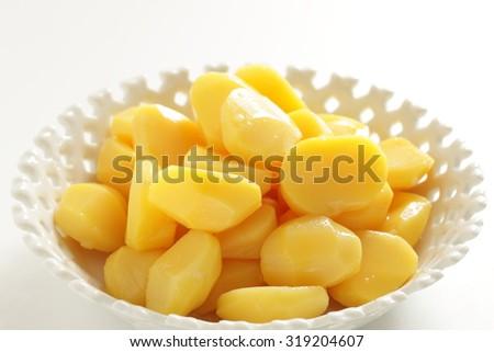 Japanese food ingredient, boiled sweet chestnut - stock photo