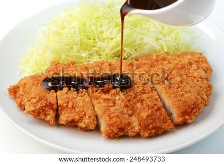 Japanese food/Pork cutlet - stock photo