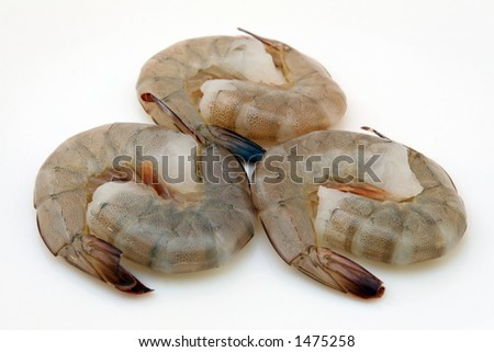 Japanese food,  raw gourmet sushi, tiger king prawns - stock photo