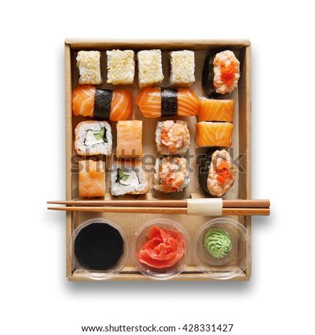 Japanese food restaurant, sushi maki gunkan roll plate or platter set.  - stock photo
