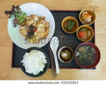 japanese food set, rice omelet soup and salad - stock photo