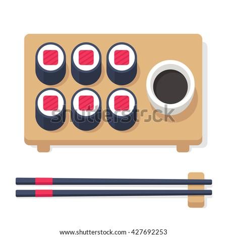 Japanese food set, sushi rolls with chopsticks and accessories. Stylized flat cartoon sushi set illustration. - stock photo