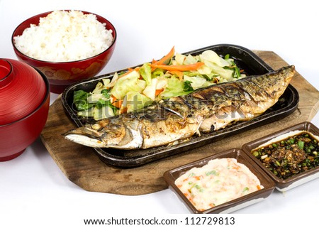 Japanese food style , Saba fish grilled set with rice on white background - stock photo
