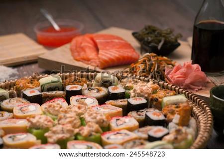 Japanese food - sushi and rolls - stock photo