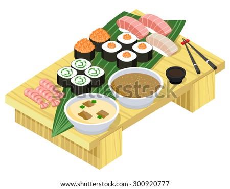 Japanese food. Sushi and rolls on wooden stand. Fish and seafood, dinner and rice, wasabi and prepared lunch - stock photo