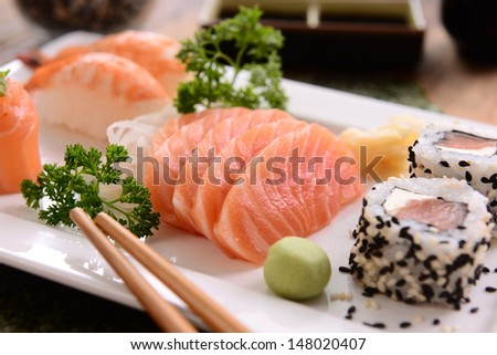 Japanese food Sushi and Sashimi - stock photo