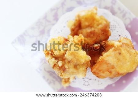 Japanese fried chicken, Karaage on dish - stock photo