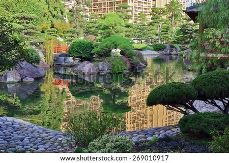 Japanese garden in Monte Carlo, Monaco - stock photo