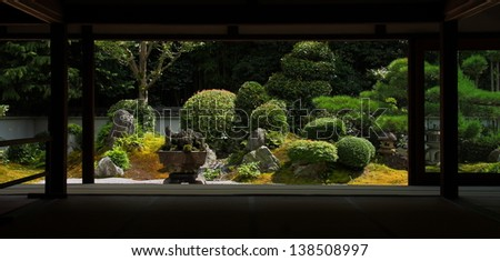 Japanese garden: view from the temple (Tofuku-ji, Kyoto) - stock photo