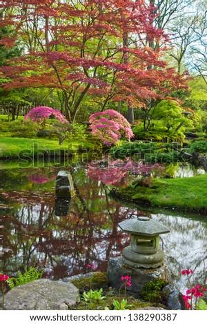 Japanese garden with red bridge in spring , Den Haag, Holland - stock photo