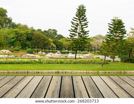 Japanese garden with wood table - stock photo