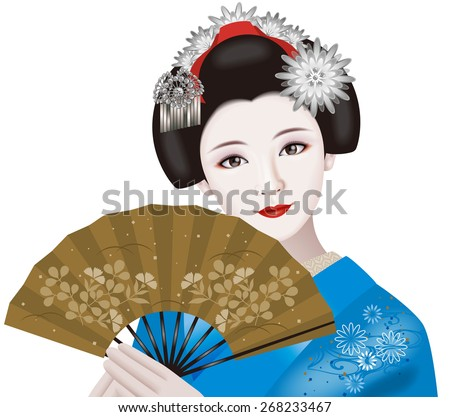 Japanese geisha and a folding fan. Illustration./ Fashion & ornamental hairpin of August. - stock photo