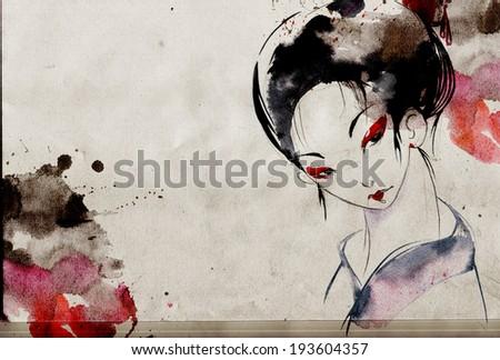 japanese geisha woman with red lips and eye shadows wearing white kimono - stock photo