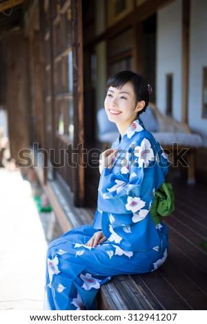 Japanese kimono woman  - stock photo