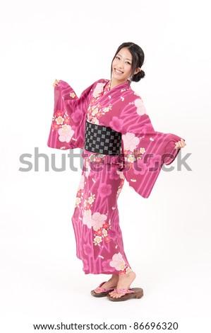japanese kimono woman dancing - stock photo