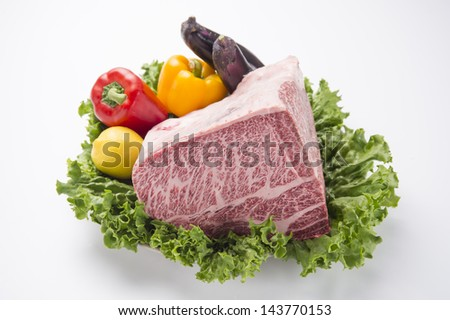 Japanese Kobe beef lump with Yellow and red pepper-1 - stock photo