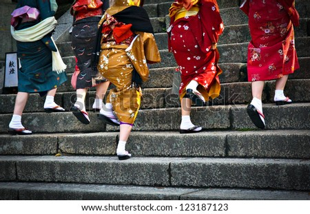 Japanese ladies in traditional dress - stock photo