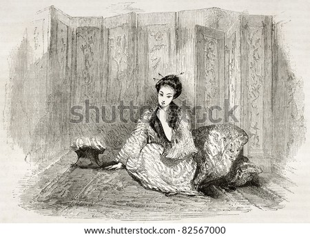 Japanese lady engraved portrait. Created by Marin after Trevise, published on Le Tour du Monde, Paris, 1860 - stock photo