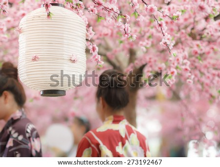 japanese lantern in sakura festival - stock photo