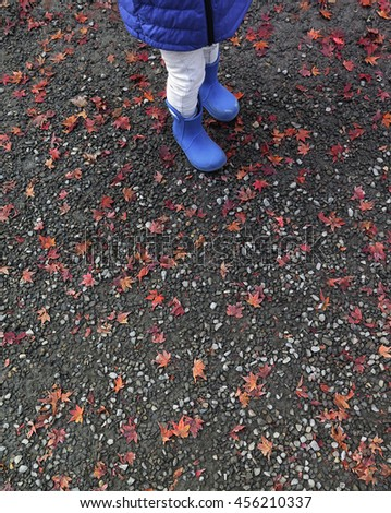 Japanese maple leaf on ground with kid's feet - stock photo