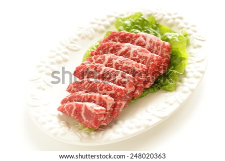 Japanese marble beef thick sliced for Korean Barbecue - stock photo