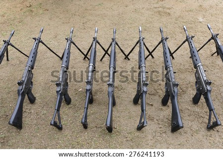 Japanese military rifle, Japan Self-Defense Forces - stock photo
