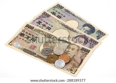 Japanese money yen banknote and coins/10,000-yen, 5,000-yen,1,000-yen,500 yen coin,100 yen coin,50 yen coin,10 yen coin,5 yen coin,1yen coin, - stock photo