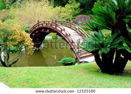 Japanese Moon Bridge - stock photo