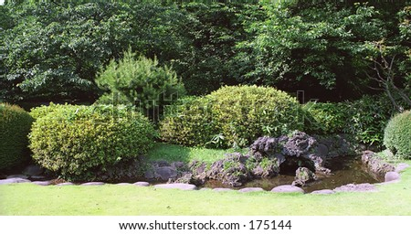 Japanese park detail (3) - stock photo