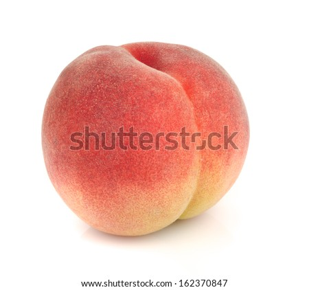 Japanese peach isolated on white - stock photo