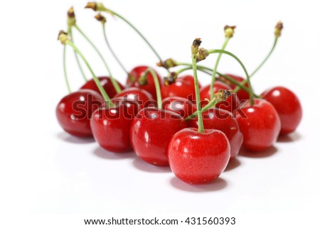 Japanese perfect ripe cherry in white - stock photo
