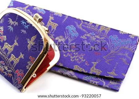 Japanese purses on white background - stock photo