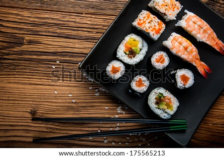 Japanese seafood, sushi set - stock photo