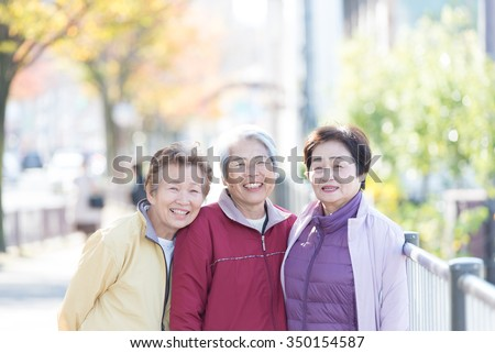japanese senior trio - stock photo