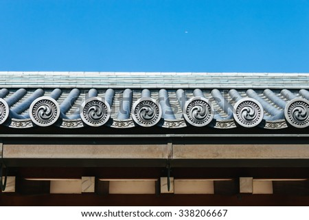 japanese shrine roof - stock photo