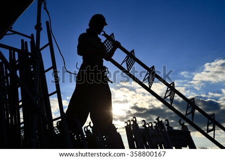Japanese steeplejack in the early morning - stock photo