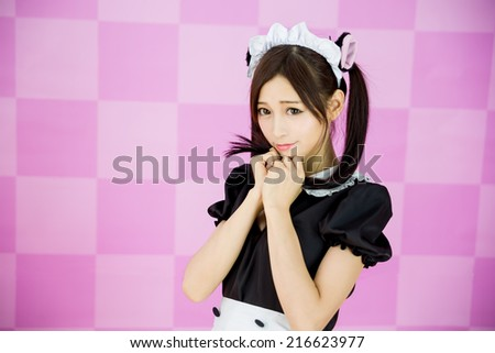 japanese style cute maid sexy dress show boods Oriental - stock photo