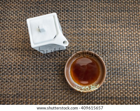 Japanese style sauce make from soy bean call Shoyu for dip sashimi or sushi, top view - stock photo