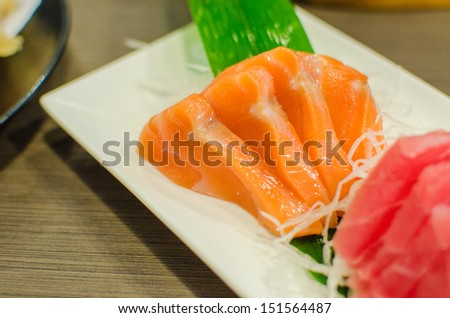 Japanese style seafood sushi set with a variety of raw fresh fish - stock photo