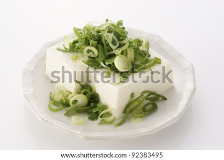 "japanese summer's food ""chilled tofu"" - stock photo"