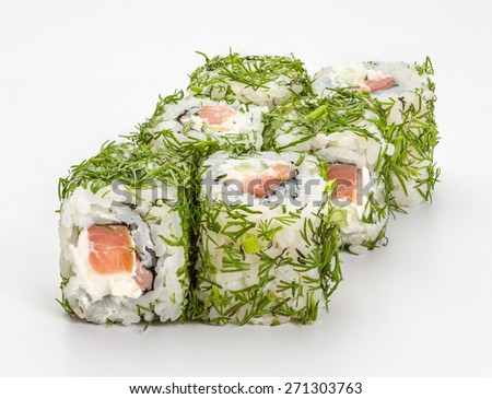 Japanese sushi and rolls Canada-green with vegetables, cheese, seafood, dill isolated on a white background.  - stock photo