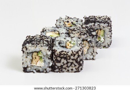 Japanese sushi and rolls with vegetables, cheese, seafood isolated on a white background.  - stock photo