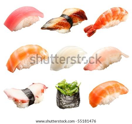 Japanese sushi isolated on a white background - stock photo